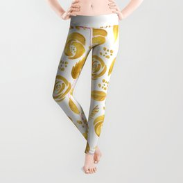 Hand painted faux gold white elegant floral pattern Leggings