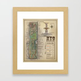 Central Park [Bethesda Fountain] Vintage Inspired running route map Framed Art Print