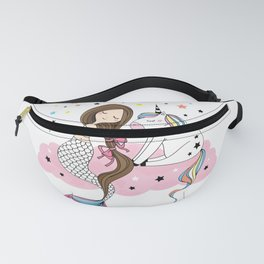 Mermaid & Unicorn White background Fanny Pack