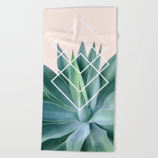 Agave geometrics - peach Beach Towel