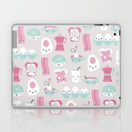 Kawaii breakfast good morning pattern with eggs coffee bacon and tea Laptop & iPad Skin