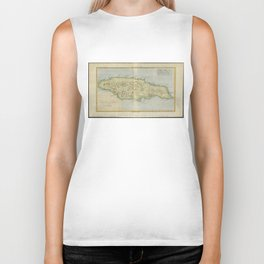 Vintage Map of Jamaica (1780) Biker Tank