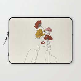 Colorful Thoughts Minimal Line Art Woman with Flowers Laptop Sleeve