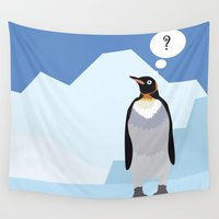 penguin Wall Tapestries featuring Penguin by Nir P