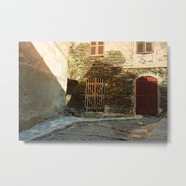 narrow alley in Corsica Metal Print