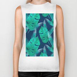 TROPICAL PATTERN BANANA LEAVES WATERCOLOR Biker Tank