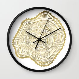 Peachleaf Willow – Gold Tree Rings Wall Clock