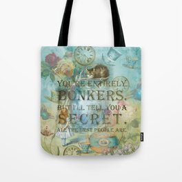 Wonderland - Bonkers Quote - Vintage Style Tote Bag