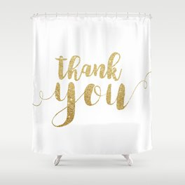 Thank You | Gold Glitter Shower Curtain