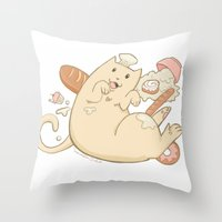 chef Throw Pillows featuring Chef Cat by gerbie