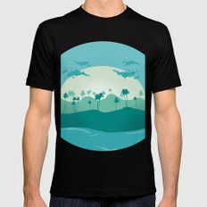 Lonely palms on tropic beach Mens Fitted Tee Black MEDIUM