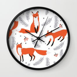 Red foxes and berries in the winter forest Wall Clock