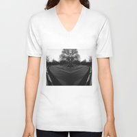 central park V-neck T-shirts featuring Central Park by Claudia Araujo