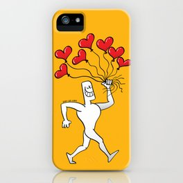 Man Walking with Heart Balloons iPhone Case