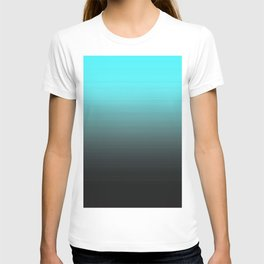 Cyan Gray Black Ombre Gradient T-shirt