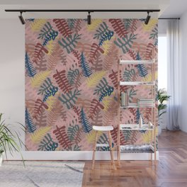 Mod Leaf Toss in Blush Wall Mural