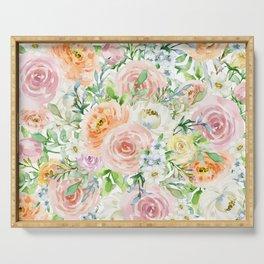 Pastel romantic garden Serving Tray