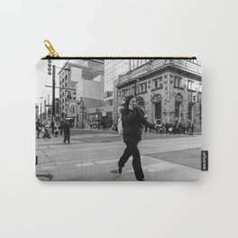 Flying woman in Toronto city streets in black and white Carry-All Pouch