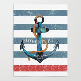 Maritime Design - Nautic Anchor on stripes in blue and red Poster