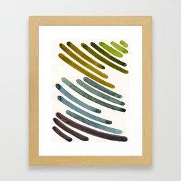Olive Green Navy Blue Watercolor Colorful Stripes Mid Century Modern Art Primitive Abstract Art Gerahmter Kunstdruck