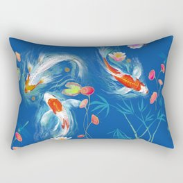 Blue Japanese Water Garden Rectangular Pillow