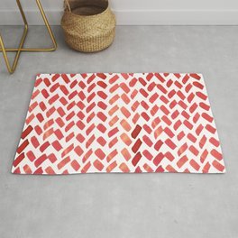 Cute watercolor knitting pattern - red Rug