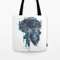 blueprint Tote Bags featuring Cranial Blueprint by James Beech