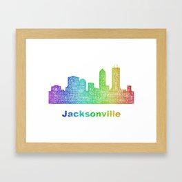 Rainbow Jacksonville skyline Framed Art Print
