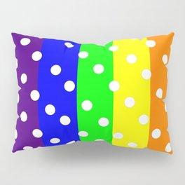 Rainbow Striped and Polka Dots Pattern Pillow Sham
