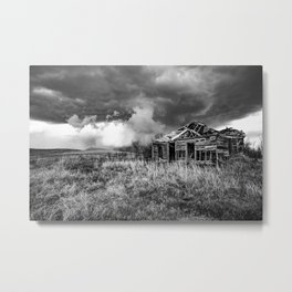 Glory Days - An Abandoned House and Storm in Kansas Metal Print