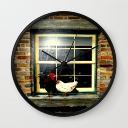 Rooster & Hen on a window Ledge Wall Clock