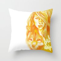 bad wolf Throw Pillows featuring Bad Wolf by Erin Garey