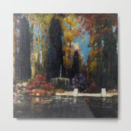 Garden with a Fountain by Thomas Mostyn Metal Print
