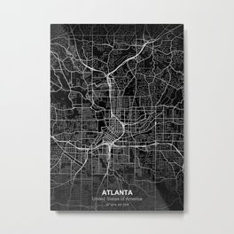 atlanta city map black Metal Print