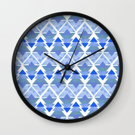 Winter Blue Geometric Forest Wall Clock