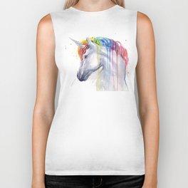 Rainbow Unicorn Watercolor Biker Tank