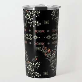 Seamless abstract floral pattern on black background Travel Mug