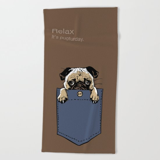 Pugturday Beach Towel