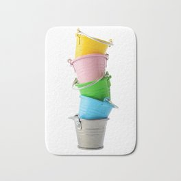 Colorful buckets, stacked vertically Bath Mat