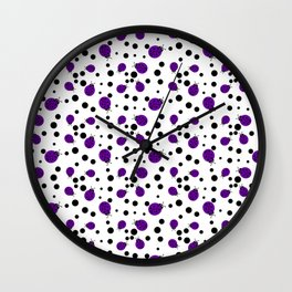 Purple Ladybugs and Black Dots Wall Clock