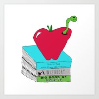 bookworm Art Prints featuring Bookworm by Atomic Starlights
