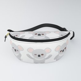 Funny cute koala set on white background Fanny Pack