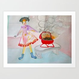 Girl in Sock Feet with Barbecue Art Print