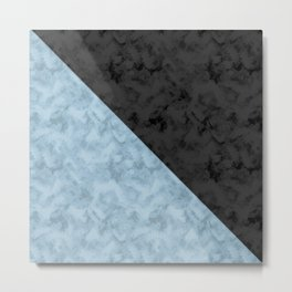 Black , blue marble Metal Print