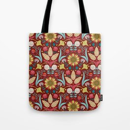 Florid Dreams Red Tote Bag