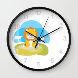Lion in the savannah Wall Clock