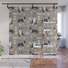 Bull Terrier coffee latte cafe dog breed cute custom pet portrait pattern Wall Mural
