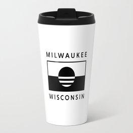 Milwaukee Wisconsin - White - People's Flag of Milwaukee Travel Mug