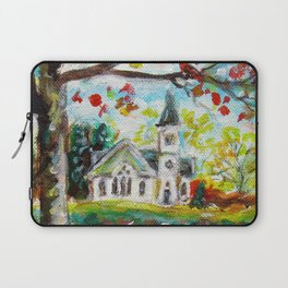 Red Cardinal peaceful white church autumn fall painting Laptop Sleeve