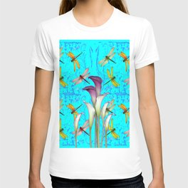 PURPLE CALLA LILIES IN  DRAGONFLY WORLD  ART T-shirt